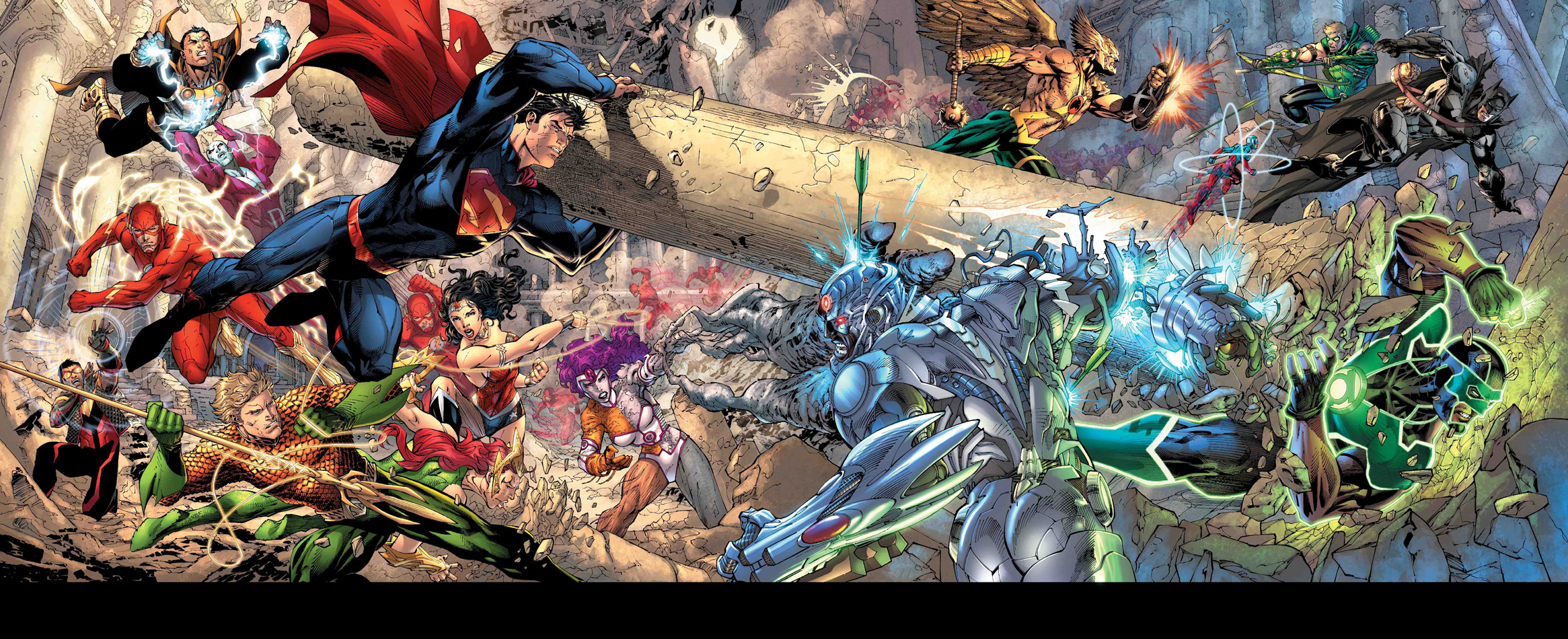 Gatefold Jim Lee Trinity War2 Entre les cases et les lignes de New 52 n°1