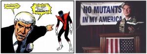 La figure de l'inquisiteur moderne représenté par William Stryke dans God Loves, Man Kills reprisent dans Days of Future Past... mais uniquement à travers la frise chronologique du site internet promotionnel...