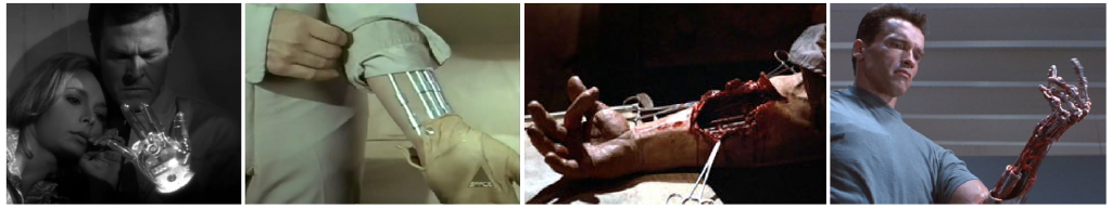 Demon with a Glass Hand (1964), Cyborg 2087 (1966) et Terminator 2 (1991), trois œuvres pour l'image devenue iconique du bras robotique.