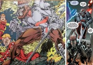Déjà tortionnaire de Rachel dans la réalité de Days of Future Past où il en avait fait un limier expert dans la traque des mutants (à gauche), Ahab semble avoir réitérer ses méfaits dans le nouveau futur sombre dépeint dans les pages d'Uncanny Avengers (à gauche) et qui sera l'enjeu du prochain event Marvel appelé AXiS.