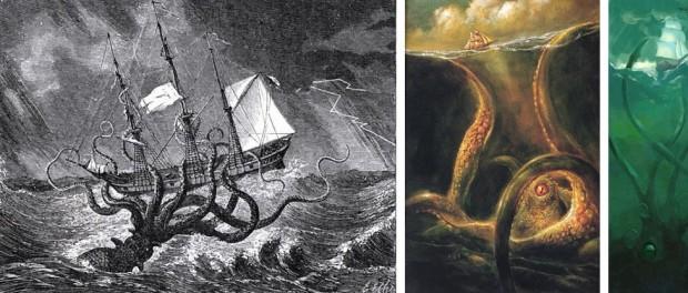 La légende du Kraken a alimenté l'imaginaire des marins et des artistes depuis des siècles : à fauche, une gravure réalisée par l'artiste anglais Edward Etherington pour l'ouvrage Monsters of the Sea (1887) de John Gibson ; au centre et à droite, des visions artistiques plus récentes (mais dont les noms des auteurs et les dates sont introuvables...) souvent utilisées sur internet pour illustrer des articles traitant du monstre marin.