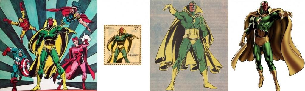 Une pin-up signée John Buscema (à gauche), un timbre à collectionner de 1974 (au centre) et, plus récent, une image de présentation de la Vision pour le jeu Marvel: Avengers Alliance (à droite).