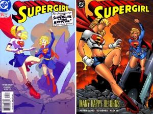 A gauche, la couverture de Supergirl #74, à droite celle du TBP.